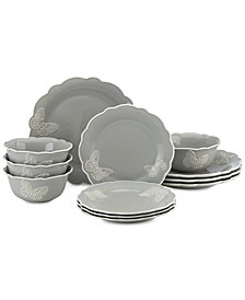 Lenox Butterfly Meadow Carved Collection 12-Piece Dinnerware Set