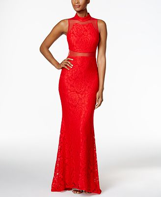 Betsy & Adam Illusion Lace Column Gown