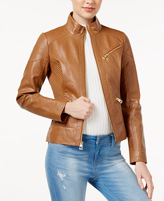 Guess Ribbed Faux Leather Jacket Coats Women Macy S