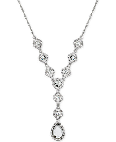 Charter Club Silver-Tone Crystal Lariat Necklace, Created for Macy's