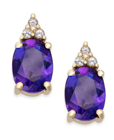 Amethyst (2-1/5 ct. t.w.) and White Topaz (1/5 ct. t.w.) Stud Earrings in 10k Gold