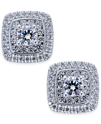 Diamond Square Cluster Stud Earrings (1-1/10 ct. t.w.) in 14k White Gold