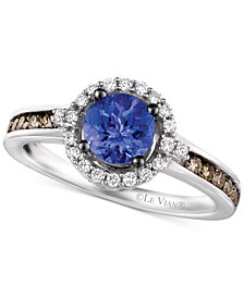 Le Vian Chocolatier® Tanzanite (5/8 ct. t.w.) and Diamond (3/8 ct. t.w.) Ring in 14k White Gold