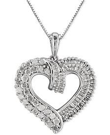 Diamond Heart Pendant Necklace (1 ct. t.w.) in Sterling Silver