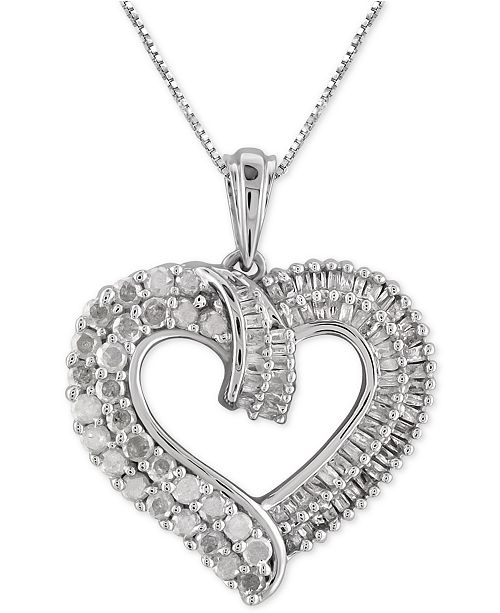 2620876524871 Macy s Diamond Heart Pendant Necklace (1 ct. t.w.) in Sterling Silver