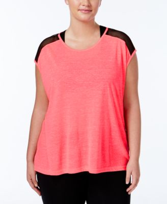 Material Girl Active Plus Size Mesh-Trim Top, Only at Macy's