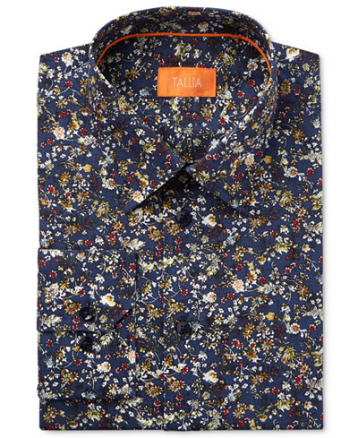 Tallia Men's Fitted Floral Printed Dress Shirt