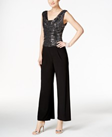 R & M Richards Sequined Wide-Leg Jumpsuit
