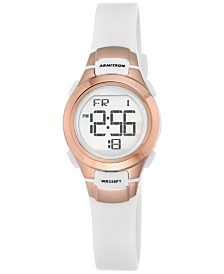 Armitron Women's Digital Chronograph White Resin Strap Watch 27mm  45-7012RSG