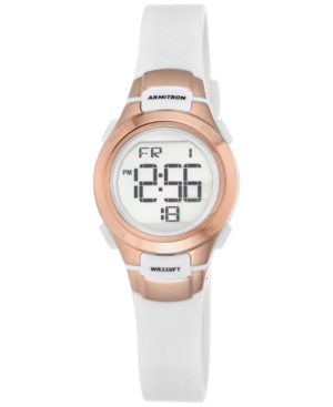 Women's Digital Chronograph White Resin Strap Watch 27mm 45-7012RSG