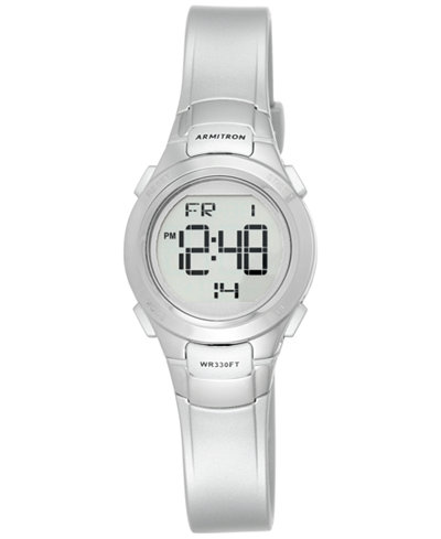 Armitron Women's Silver Resin Strap Watch 27mm 45-7012SIL
