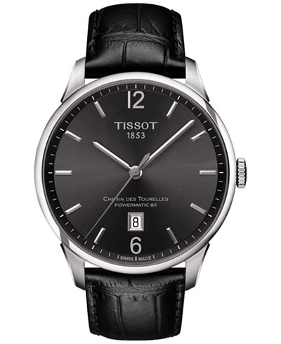 Tissot Men's Swiss Automatic T-Classic Chemin Des Tourelles Powermatic 80 Black Leather Strap Watch 42mm T0994071644700