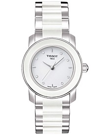 Women's Swiss T-Lady Cera Diamond Accent Stainless Steel & White Ceramic Bracelet Watch 28mm T0642102201600