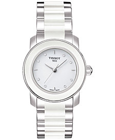 Tissot Women's Swiss T-Lady Cera Diamond Accent Stainless Steel & White Ceramic Bracelet Watch 28mm T0642102201600