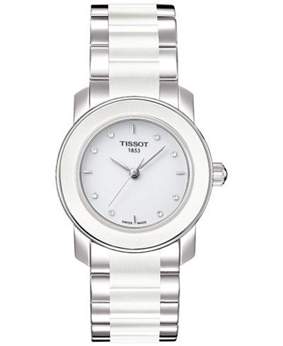 Tissot Women's Swiss T-Lady Cera Diamond Accent Stainless Steel & White Ceramic Bracelet Watch 28mm T0642102201600