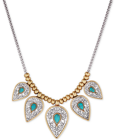 Lucky brand two tone blue stone statement necklace for Macy s lucky brand jewelry