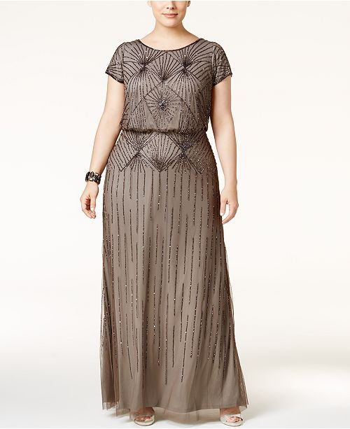 e6512f42cbf Adrianna Papell Plus Size Beaded Blouson Gown   Reviews ...