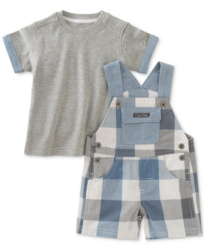 Calvin Klein 2-Pc. T-Shirt & Chambray Shortall Set, Baby Boys (0-24 Months)