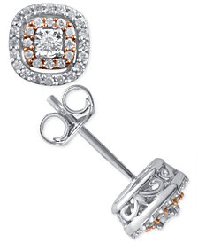 Diamond Cluster Stud Earrings (1/5 ct. t.w.) in Sterling Silver and 14k Rose Gold-Plate