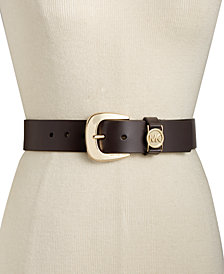 MICHAEL Michael Kors Leather Belt with MK Cutout Logo Disc Belt