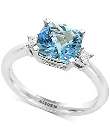 EFFY® Aquarius Aquamarine (2-1/10 ct. t.w.) and Diamond (1/10 ct. t.w.) Ring in 14k White Gold