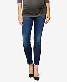 Maternity Blue Black Thames Wash Skinny Jeans