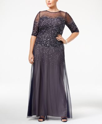Adrianna Papell Plus Size Elbow-Sleeve Beaded Gown