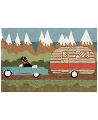 """Liora Manne Front Porch Indoor/Outdoor Camping Dog Green 2'6"""" x 4' Area Rug"""
