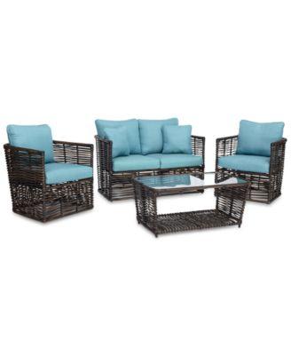 Bahiya Wicker Outdoor 4 Pc. Seating Set (1 Loveseat, 2. Furniture