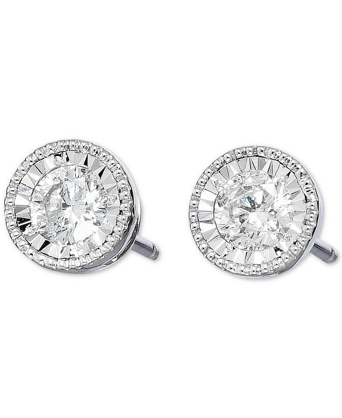 TruMiracle - Diamond Stud Earrings (1/2 ct. t.w.) in 14k White Gold