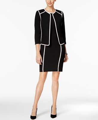 Kasper Contrast-Trim Blazer & Sheath Dress