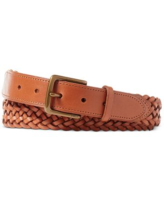 polo ralph s braided vachetta leather belt