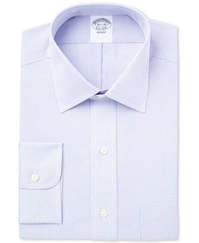 Brooks Brothers Men's Regent Classic/Regular Fit Non-Iron Blue Checked Dress Shirt