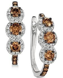 Le Vian Chocolatier® Diamond Hoop Earrings (1-1/5 ct. t.w.) in 14k White Gold