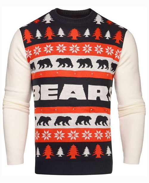 151c578e293 ... Forever Collectibles Men's Chicago Bears Light Up Ugly Crew Neck Sweater  ...