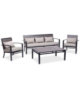 Marlough Aluminum Outdoor 4 Pc. Seating Set (1 Sofa, 2 Club Chairs