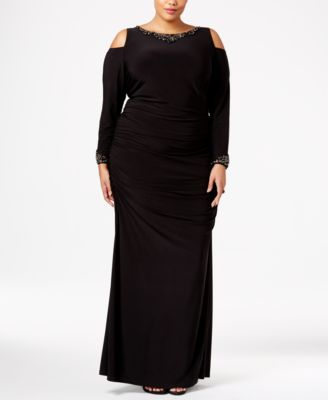Adrianna Papell Plus Size Embellished Cold-Shoulder Gown