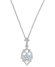 Aquamarine (5/8 ct. t.w.) and Diamond (1/3 ct. t.w.) Pendant Necklace in 14k White Gold