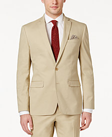CLOSEOUT! Bar III Men's Slim-Fit Tan Stretch Jacket, Created for Macy's