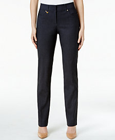 JM Collection Petite Curvy-Fit Denim Straight-Leg Pants, Created for Macy's