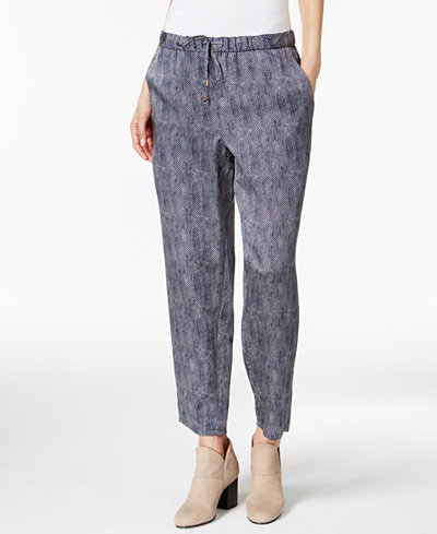 Eileen Fisher Silk-Blend Drawstring Ankle Pants