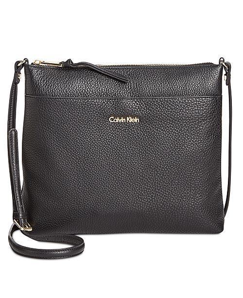 Calvin Klein Pebble Leather Lily Crossbody - Handbags   Accessories ... d95094aa8c48f