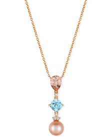 Le Vian® Multi-Gemstone (2-1/2 ct. t.w.), Cultured Freshwater Pearl (10mm) and Diamond (1/6 ct. t.w.) Pendant Necklace in 14k Rose Gold