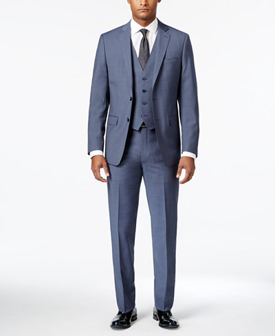 Calvin Klein Men's Extra-Slim Fit Light Blue Neat Vested Suit ...