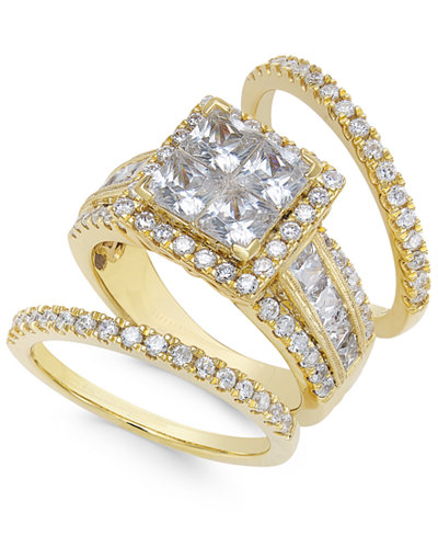 Diamond Cluster Bridal Set (3-1/2 ct. t.w.) in 14k Gold