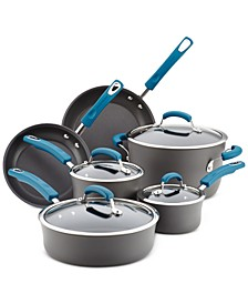 Hard-Anodized 10 Piece Cookware Set, Marine Blue