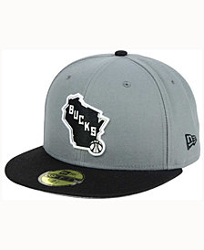 New Era Milwaukee Bucks 2-Tone Gray Black 59FIFTY Cap