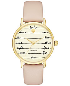 kate spade new york Women's Metro Vachetta Leather Strap Watch 34mm KSW1059