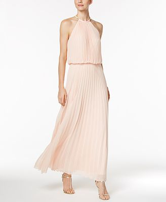 MSK Pleated Necklace Halter Maxi Gown