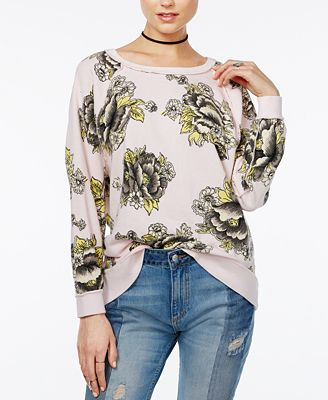 Free People Go On Get Floral-Print Sweater